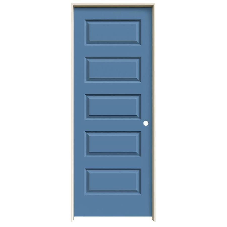 JELD-WEN Blue Heron Prehung Solid Core 5-Panel Equal Interior Door (Common: 28-in x 80-in; Actual: 29.562-in x 81.688-in)