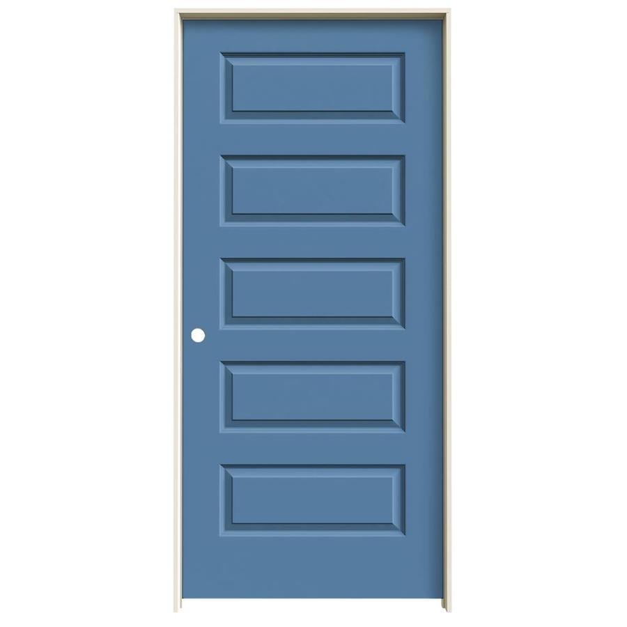 JELD-WEN Blue Heron Prehung Solid Core 5-Panel Equal Interior Door (Common: 36-in x 80-in; Actual: 37.562-in x 81.688-in)