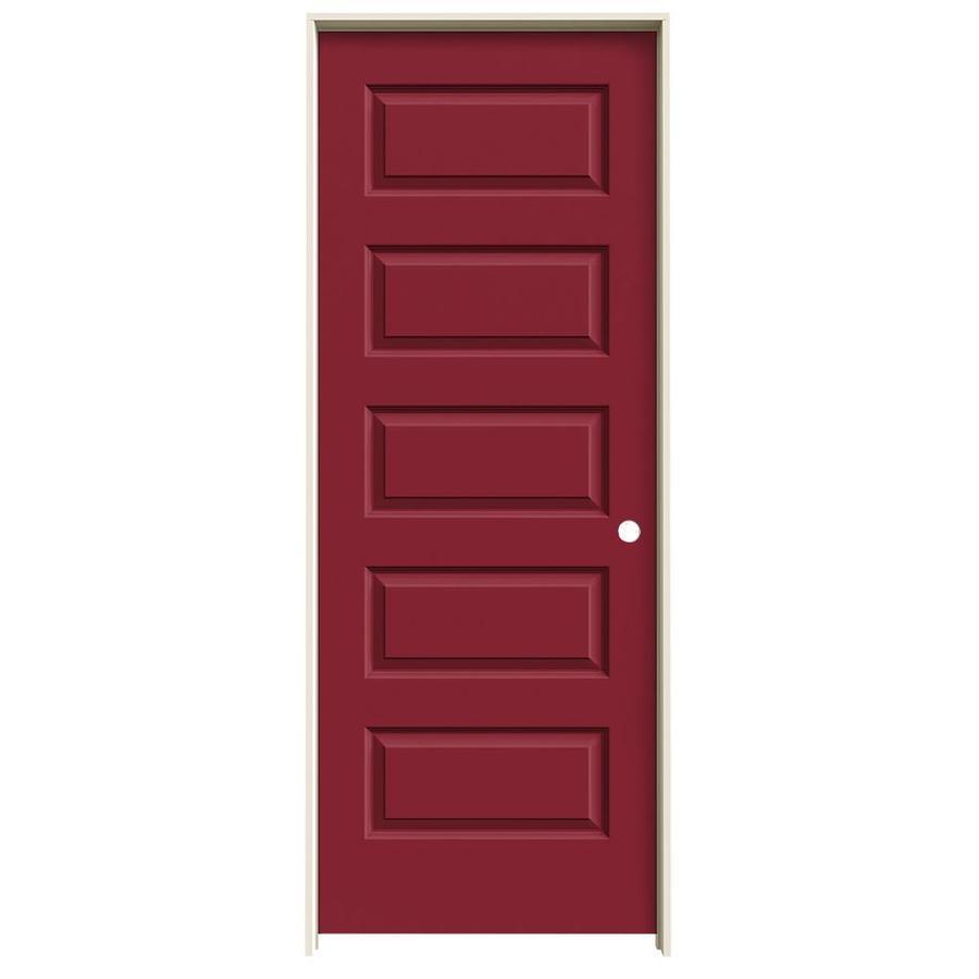 JELD-WEN Barn Red Prehung Solid Core 5-Panel Equal Interior Door (Common: 30-in x 80-in; Actual: 31.562-in x 81.688-in)