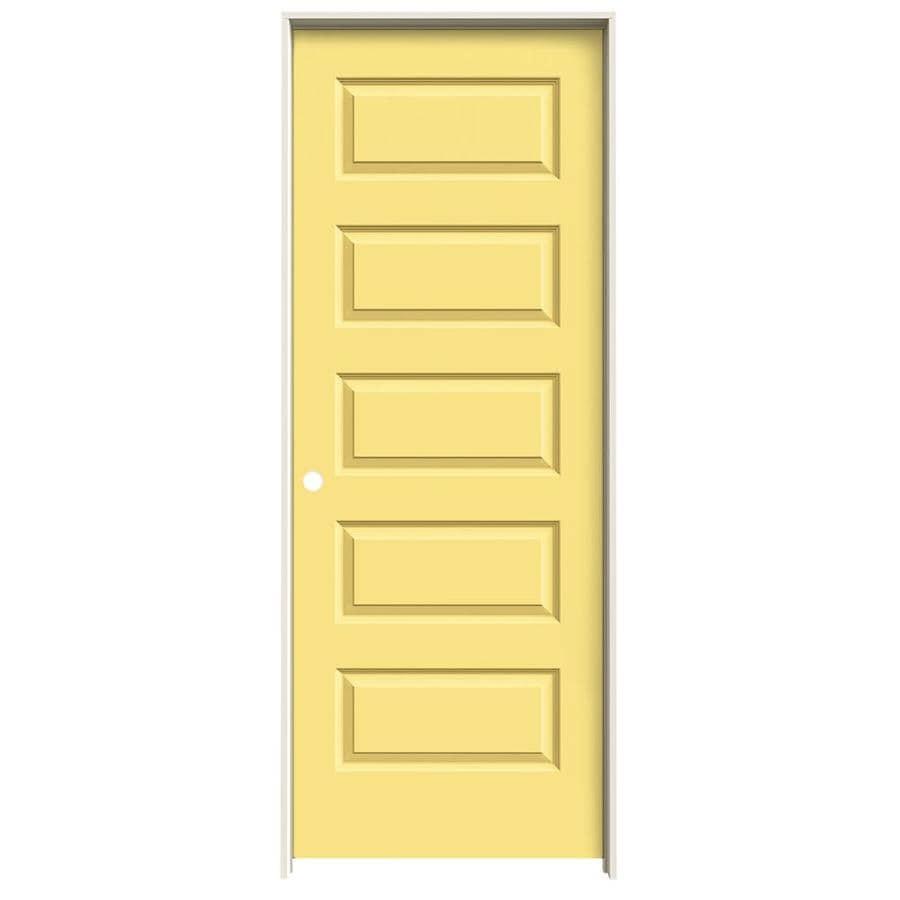 JELD-WEN Marigold Prehung Solid Core 5-Panel Equal Interior Door (Common: 28-in x 80-in; Actual: 29.562-in x 81.688-in)