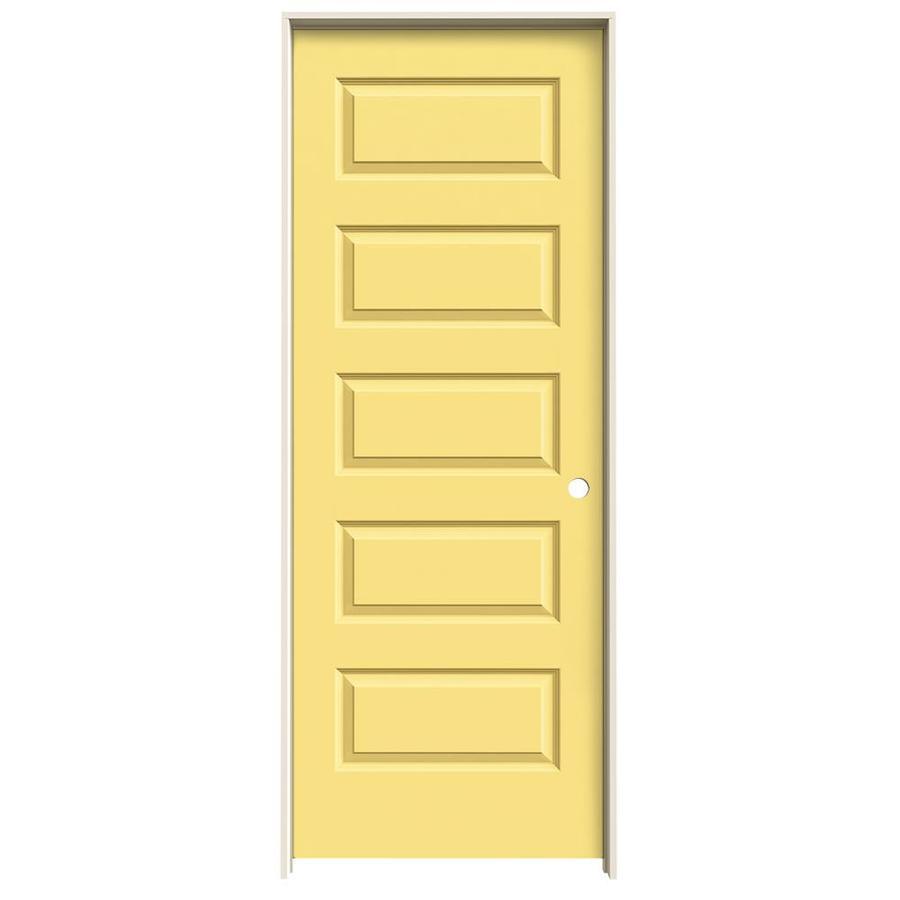 JELD-WEN Marigold Prehung Solid Core 5-Panel Equal Interior Door (Common: 32-in x 80-in; Actual: 33.562-in x 81.688-in)