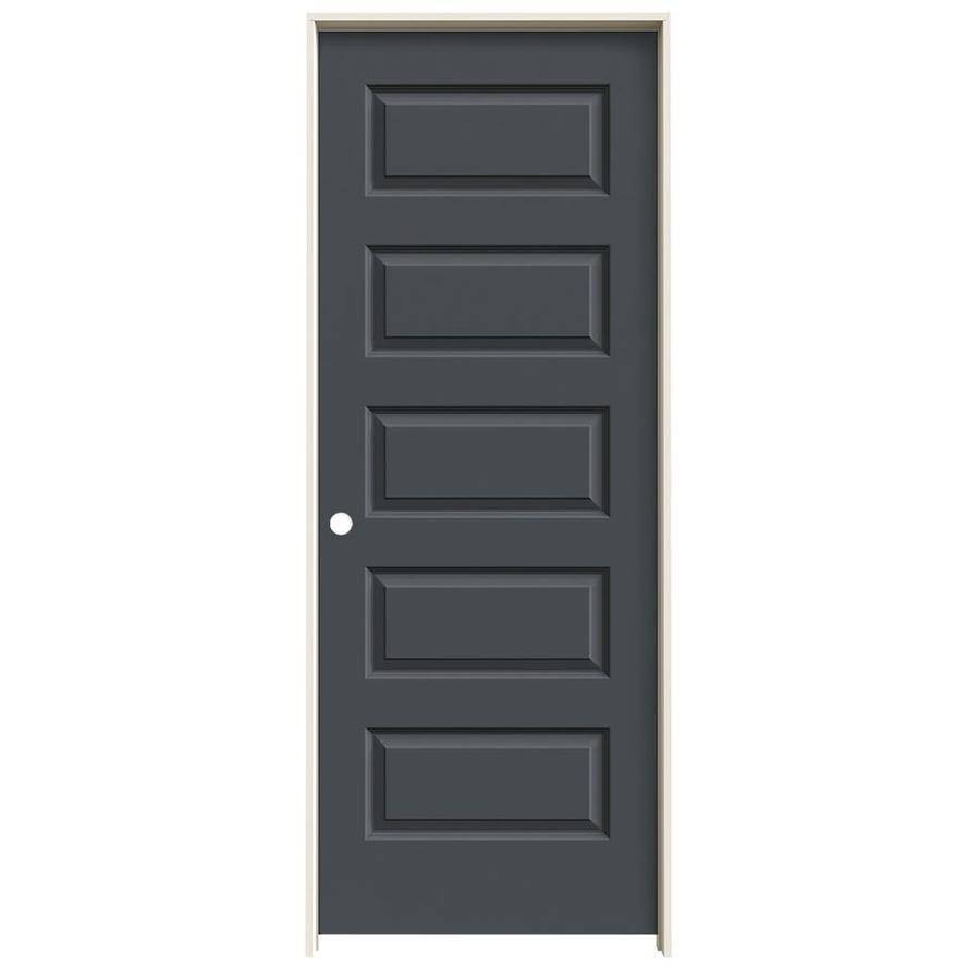 JELD-WEN Slate Prehung Solid Core 5-Panel Equal Interior Door (Common: 30-in x 80-in; Actual: 31.562-in x 81.688-in)