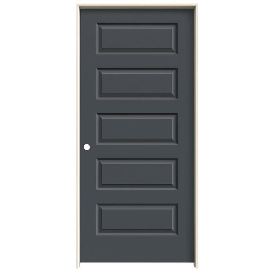JELD-WEN Slate Prehung Solid Core 5-Panel Equal Interior Door (Common: 36-in x 80-in; Actual: 37.562-in x 81.688-in)