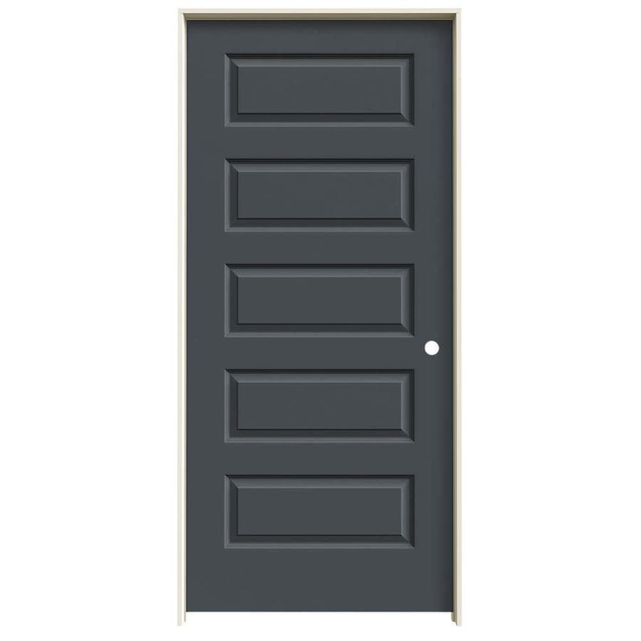 JELD-WEN Slate Prehung Solid Core 5-Panel Equal Interior Door (Common: 36-in x 80-in; Actual: 37.562-in x 81.688-in)