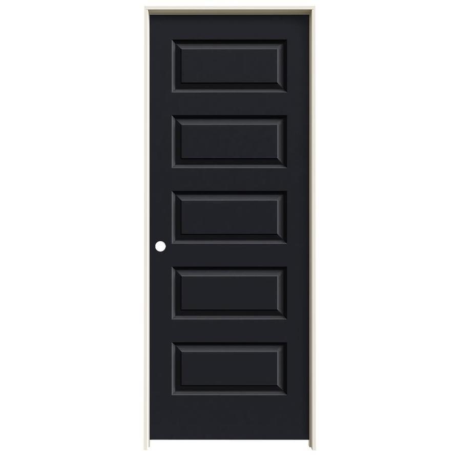 JELD-WEN Midnight Prehung Solid Core 5-Panel Equal Interior Door (Common: 28-in x 80-in; Actual: 29.562-in x 81.688-in)