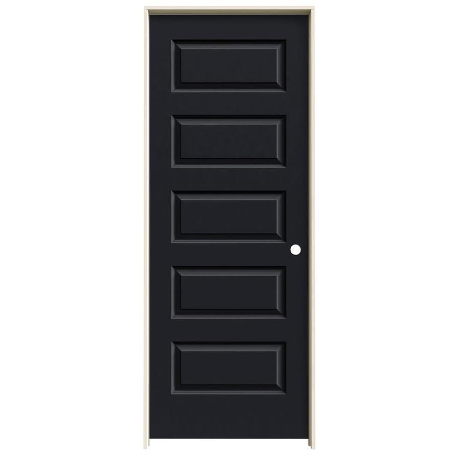 JELD-WEN Midnight Prehung Solid Core 5-Panel Equal Interior Door (Common: 30-in x 80-in; Actual: 31.562-in x 81.688-in)