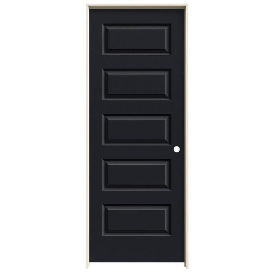 JELD-WEN Midnight Prehung Solid Core 5-Panel Equal Interior Door (Common: 32-in x 80-in; Actual: 33.562-in x 81.688-in)