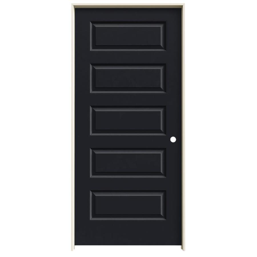 JELD-WEN Midnight Prehung Solid Core 5-Panel Equal Interior Door (Common: 36-in x 80-in; Actual: 37.562-in x 81.688-in)