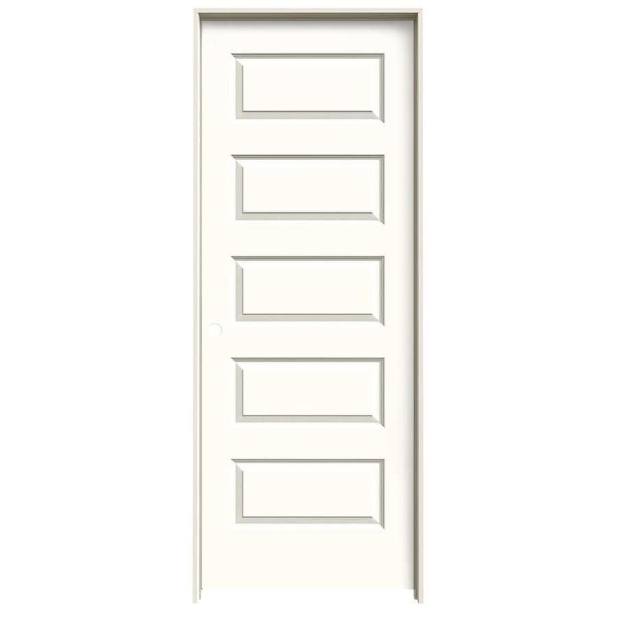 JELD-WEN Moonglow Prehung Hollow Core 5-Panel Equal Interior Door (Common: 30-in x 80-in; Actual: 31.562-in x 81.688-in)
