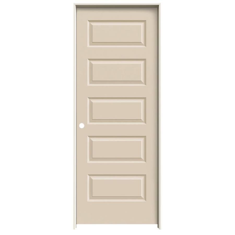 JELD-WEN Cream-N-Sugar Prehung Hollow Core 5-Panel Equal Interior Door (Common: 30-in x 80-in; Actual: 31.562-in x 81.688-in)