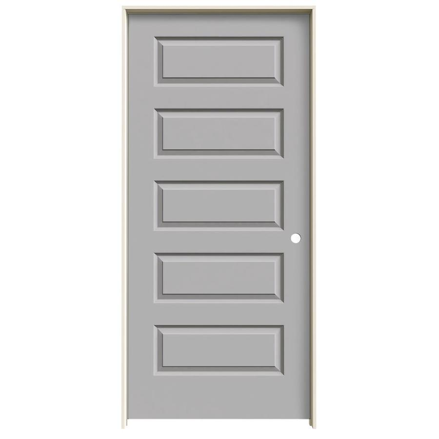 JELD-WEN Driftwood Prehung Hollow Core 5-Panel Equal Interior Door (Common: 36-in x 80-in; Actual: 37.562-in x 81.688-in)