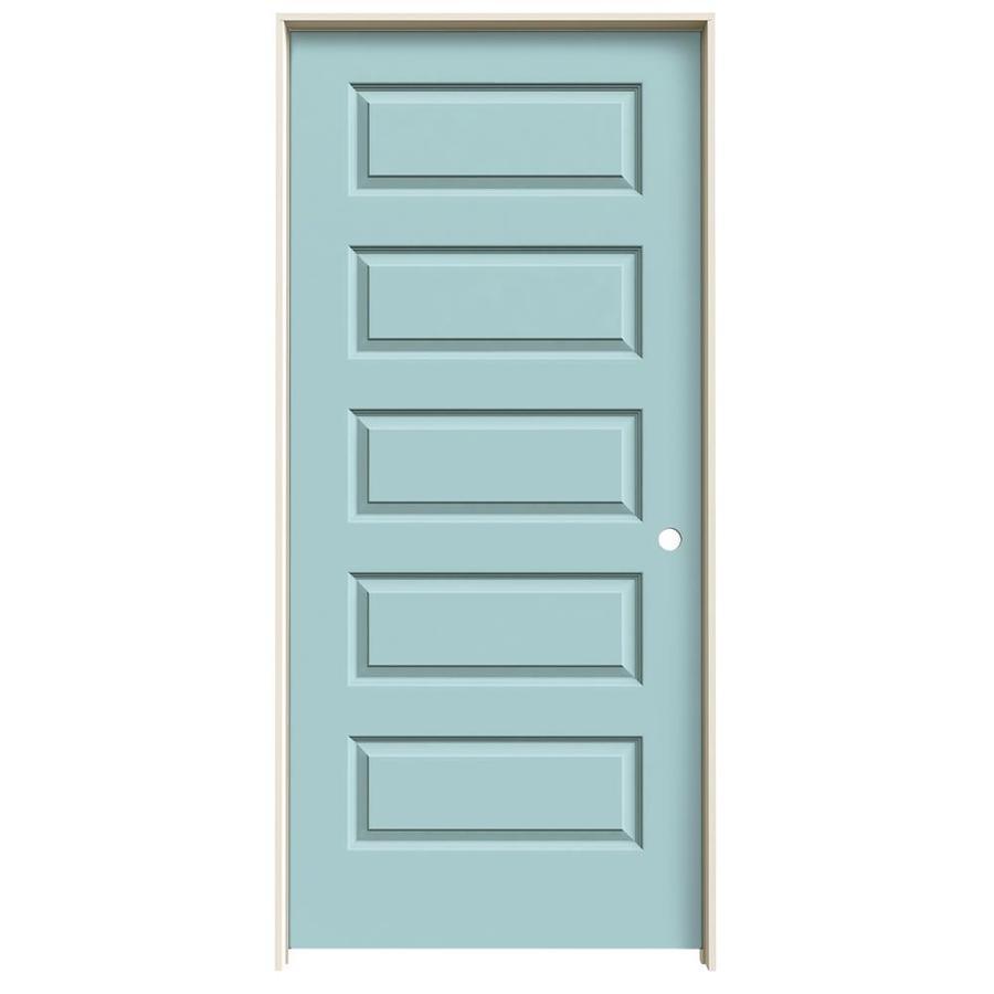 JELD-WEN Sea Mist Prehung Hollow Core 5-Panel Equal Interior Door (Common: 36-in x 80-in; Actual: 37.562-in x 81.688-in)