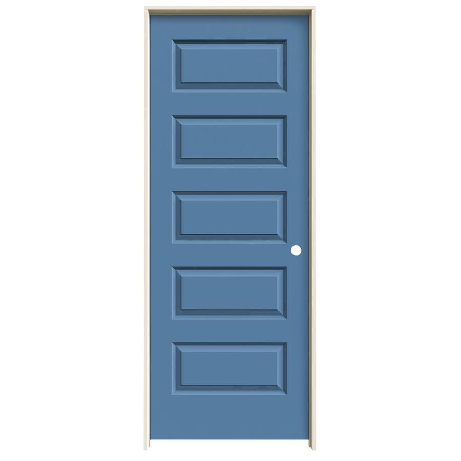 JELD-WEN Blue Heron Prehung Hollow Core 5-Panel Equal Interior Door (Common: 32-in x 80-in; Actual: 33.562-in x 81.688-in)