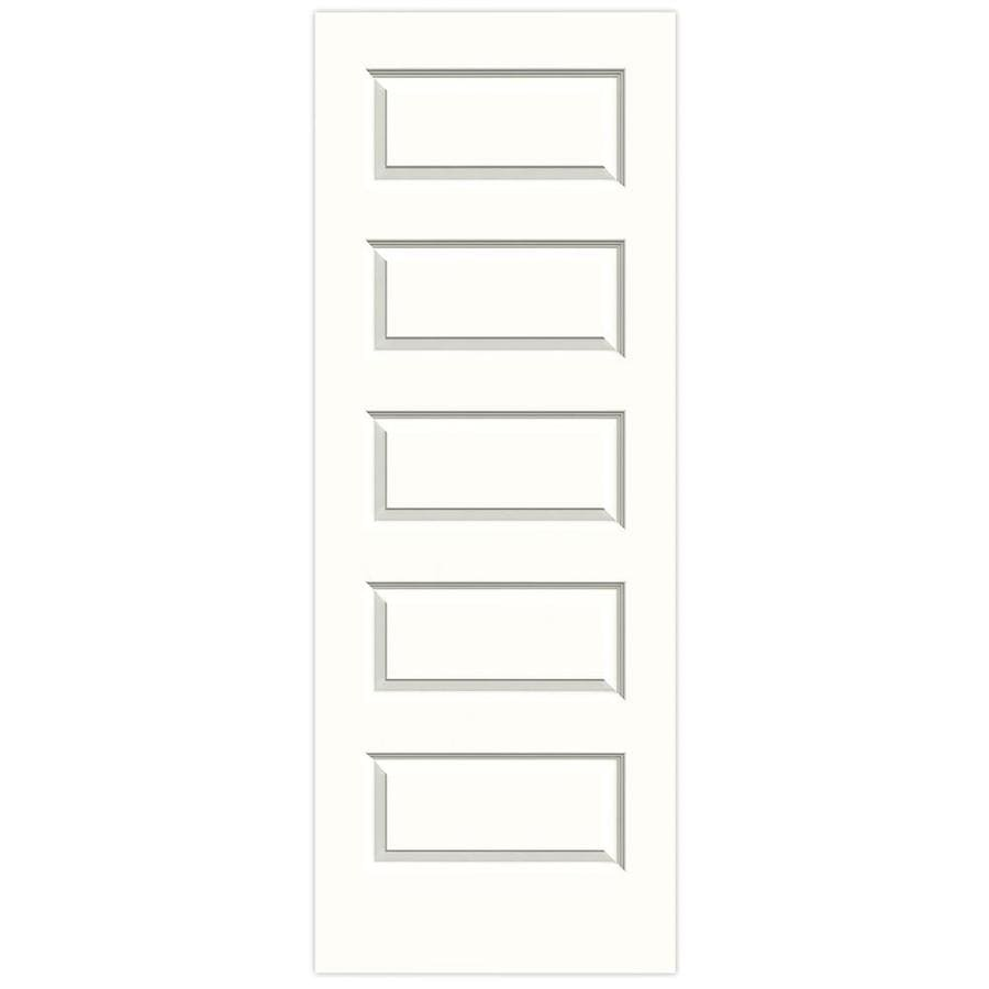 JELD-WEN Snow Storm Solid Core 5-Panel Equal Slab Interior Door (Common: 28-in x 80-in; Actual: 28-in x 80-in)