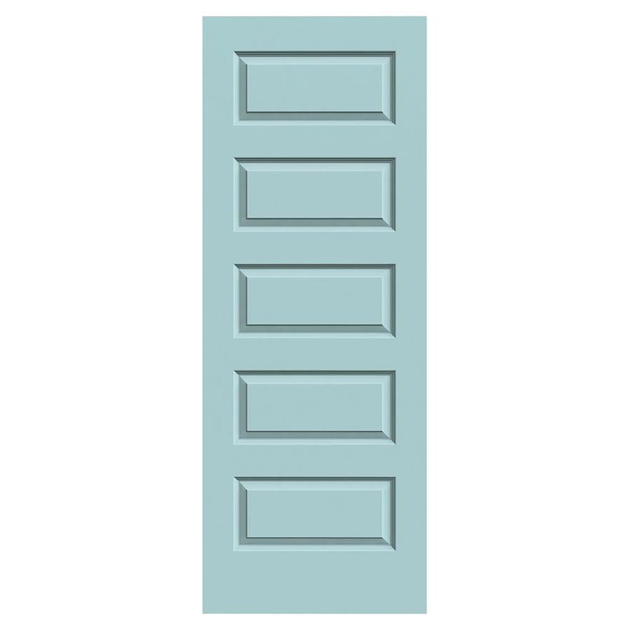 JELD-WEN Sea Mist Solid Core 5-Panel Equal Slab Interior Door (Common: 32-in x 80-in; Actual: 32-in x 80-in)