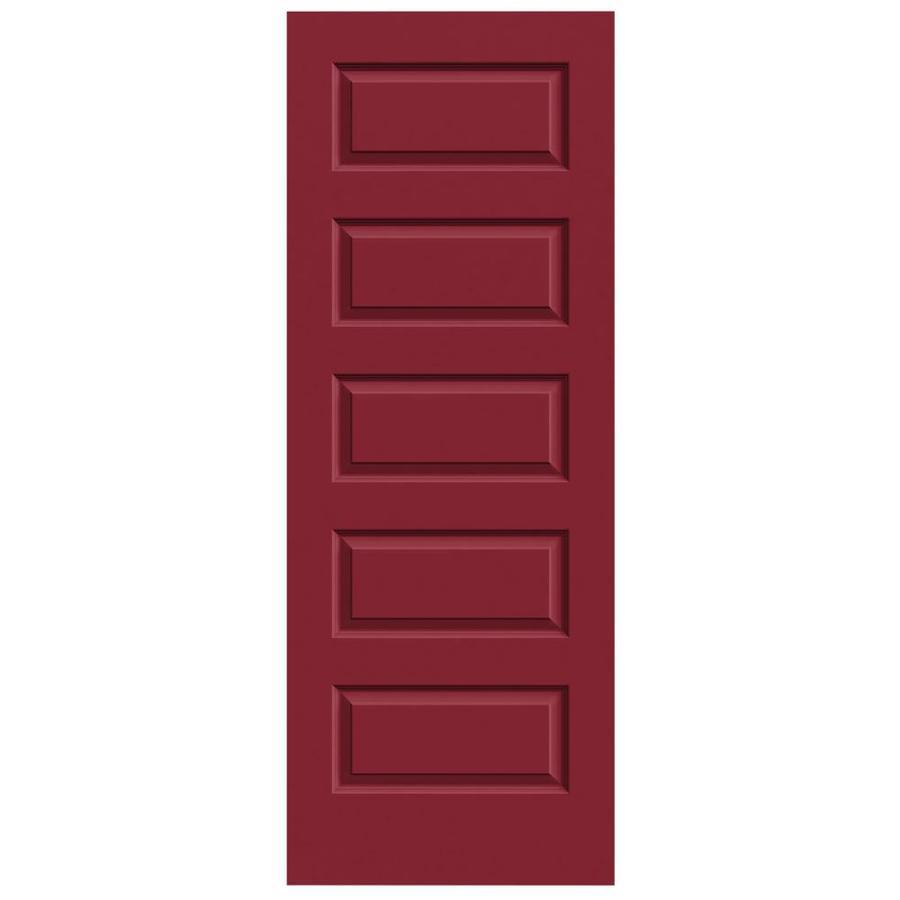 JELD-WEN Barn Red Solid Core 5-Panel Equal Slab Interior Door (Common: 24-in x 80-in; Actual: 24-in x 80-in)