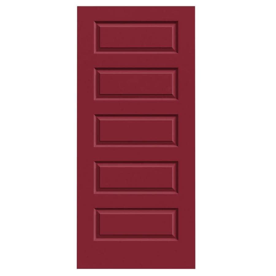 JELD-WEN Barn Red Solid Core 5-Panel Equal Slab Interior Door (Common: 36-in x 80-in; Actual: 36-in x 80-in)