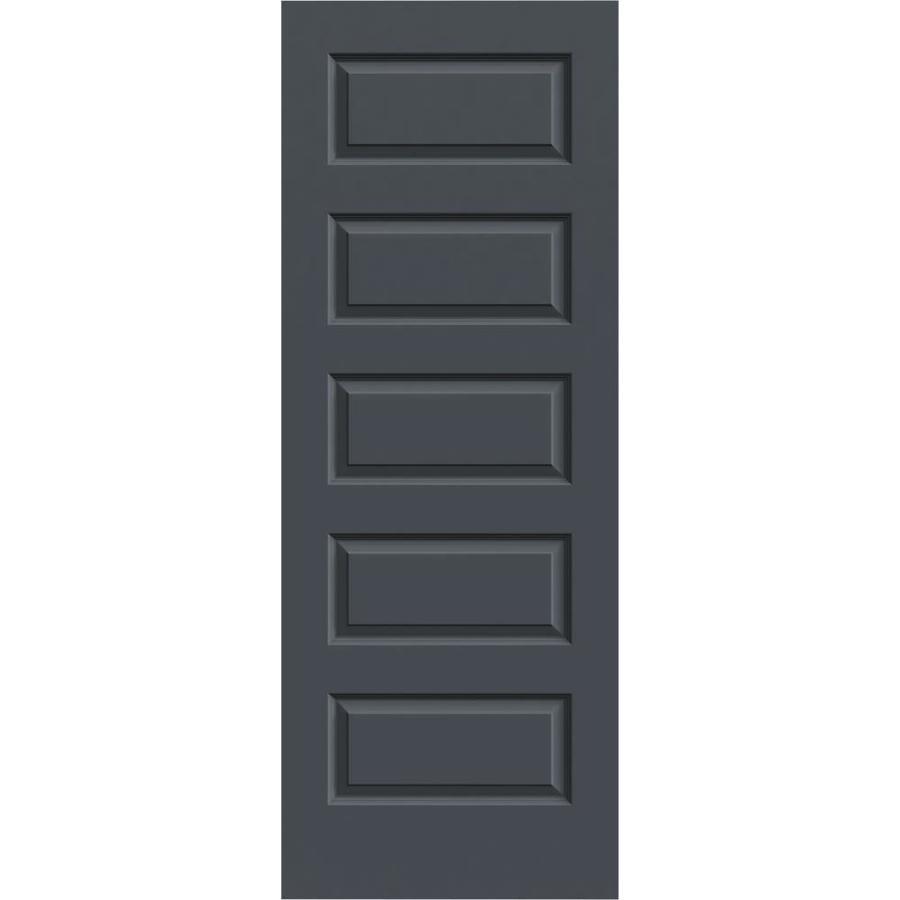 JELD-WEN Slate Solid Core 5-Panel Equal Slab Interior Door (Common: 32-in x 80-in; Actual: 32-in x 80-in)
