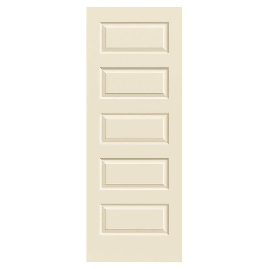 JELD-WEN Cream-N-Sugar Hollow Core 5-Panel Equal Slab Interior Door (Common: 32-in x 80-in; Actual: 32-in x 80-in)