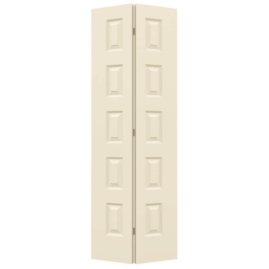 JELD-WEN Cream-N-Sugar Hollow Core 5-Panel Equal Bi-Fold Closet Interior Door (Common: 32-in x 80-in; Actual: 31.5-in x 79-in)