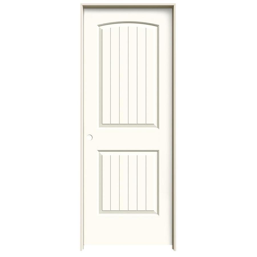 JELD-WEN White Prehung Hollow Core 2-Panel Round Top Plank Interior Door (Common: 24-in x 80-in; Actual: 25.562-in x 81.688-in)