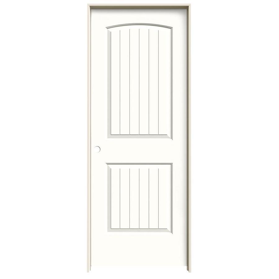 JELD-WEN Snow Storm Prehung Hollow Core 2-Panel Round Top Plank Interior Door (Common: 24-in x 80-in; Actual: 25.562-in x 81.688-in)