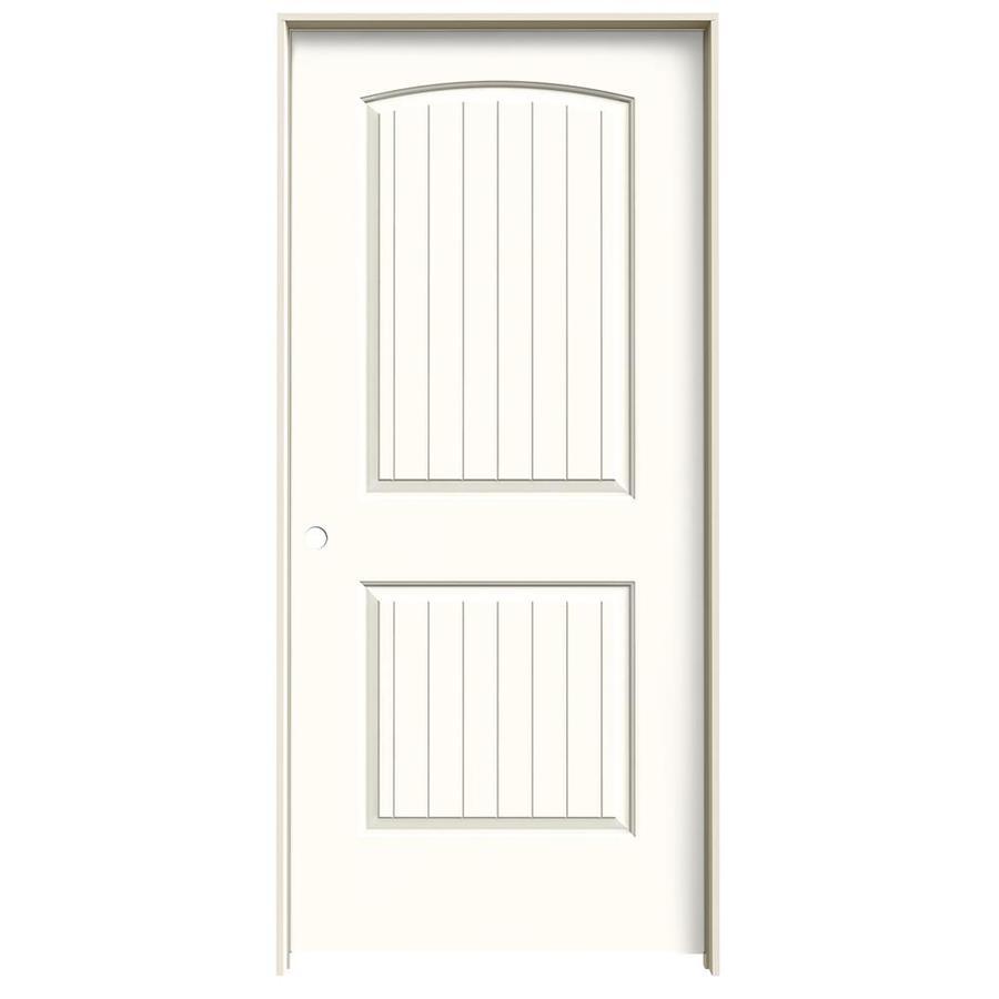 JELD-WEN Moonglow Prehung Hollow Core 2-Panel Round Top Plank Interior Door (Common: 36-in x 80-in; Actual: 37.562-in x 81.688-in)