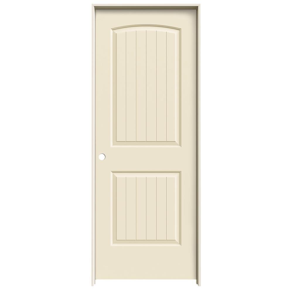 JELD-WEN Cream-N-Sugar Prehung Hollow Core 2-Panel Round Top Plank Interior Door (Common: 28-in x 80-in; Actual: 29.562-in x 81.688-in)