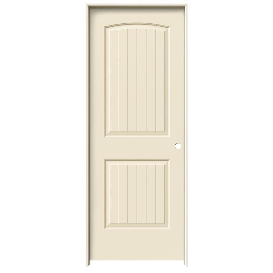 JELD-WEN Cream-N-Sugar Prehung Hollow Core 2-Panel Round Top Plank Interior Door (Common: 30-in x 80-in; Actual: 31.562-in x 81.688-in)