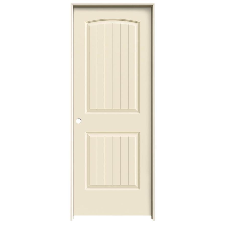 JELD-WEN Cream-N-Sugar Prehung Hollow Core 2-Panel Round Top Plank Interior Door (Common: 32-in x 80-in; Actual: 33.562-in x 81.688-in)