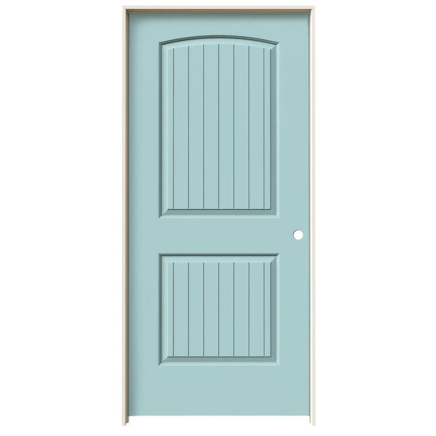ReliaBilt Sea Mist Prehung Hollow Core 2-Panel Round Top Plank Interior Door (Common: 36-in x 80-in; Actual: 37.562-in x 81.688-in)