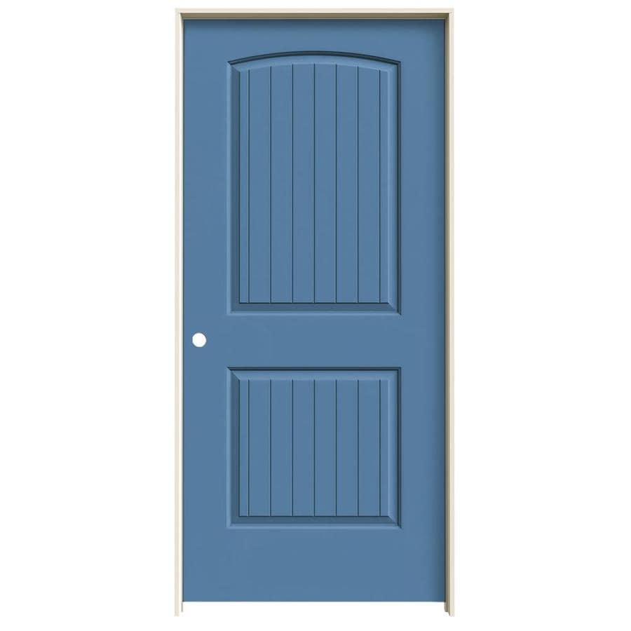 JELD-WEN Blue Heron Prehung Hollow Core 2-Panel Round Top Plank Interior Door (Common: 36-in x 80-in; Actual: 37.562-in x 81.688-in)