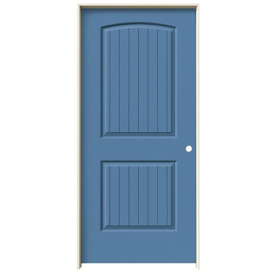 JELD-WEN Blue Heron Prehung Hollow Core 2-Panel Round Top Plank Interior Door (Common: 36-in x 80-in; Actual: 37.562-in x 81.688-in)