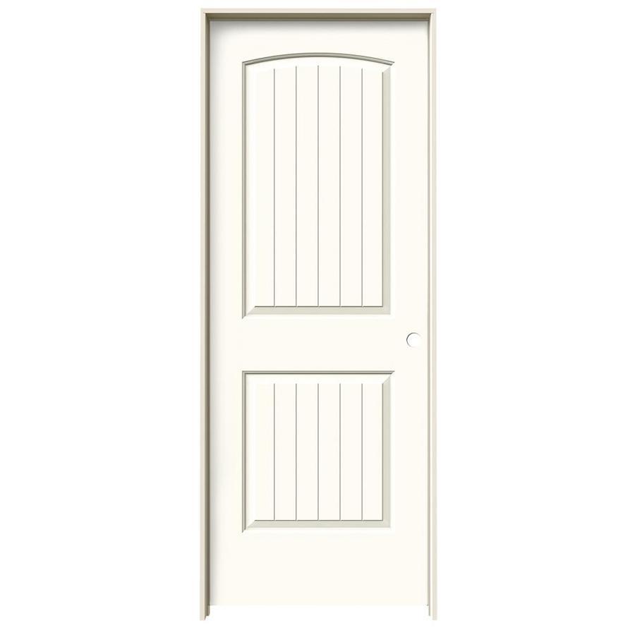 JELD-WEN White Prehung Solid Core 2-Panel Round Top Plank Interior Door (Common: 28-in x 80-in; Actual: 29.562-in x 81.688-in)