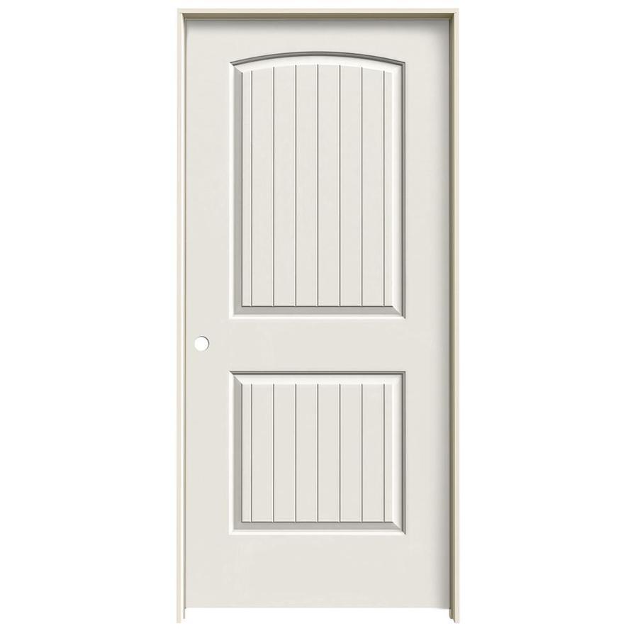 JELD-WEN White Prehung Solid Core 2-Panel Round Top Plank Interior Door (Common: 36-in x 80-in; Actual: 37.562-in x 81.688-in)