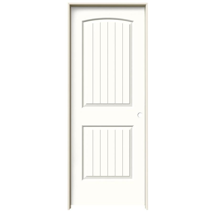 JELD-WEN Snow Storm Prehung Solid Core 2-Panel Round Top Plank Interior Door (Common: 32-in x 80-in; Actual: 33.562-in x 81.688-in)