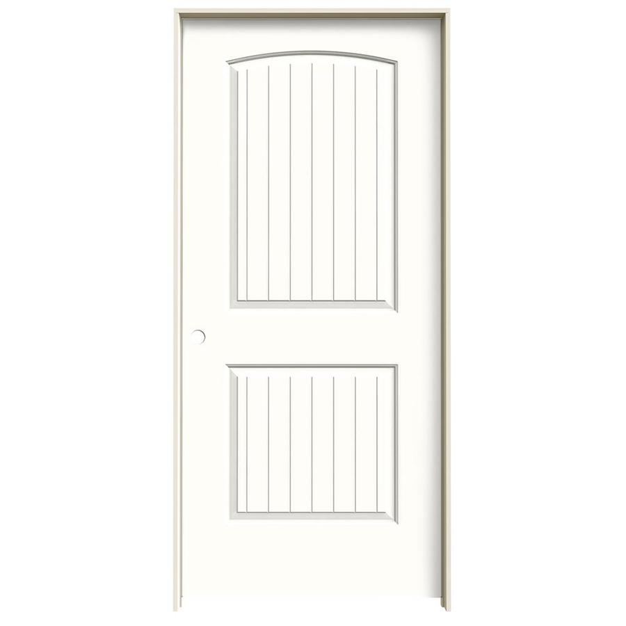 JELD-WEN Snow Storm Prehung Solid Core 2-Panel Round Top Plank Interior Door (Common: 36-in x 80-in; Actual: 37.562-in x 81.688-in)