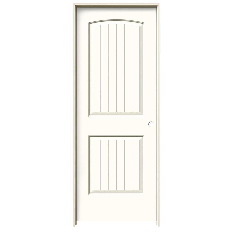 JELD-WEN Moonglow Prehung Solid Core 2-Panel Round Top Plank Interior Door (Common: 24-in x 80-in; Actual: 25.562-in x 81.688-in)