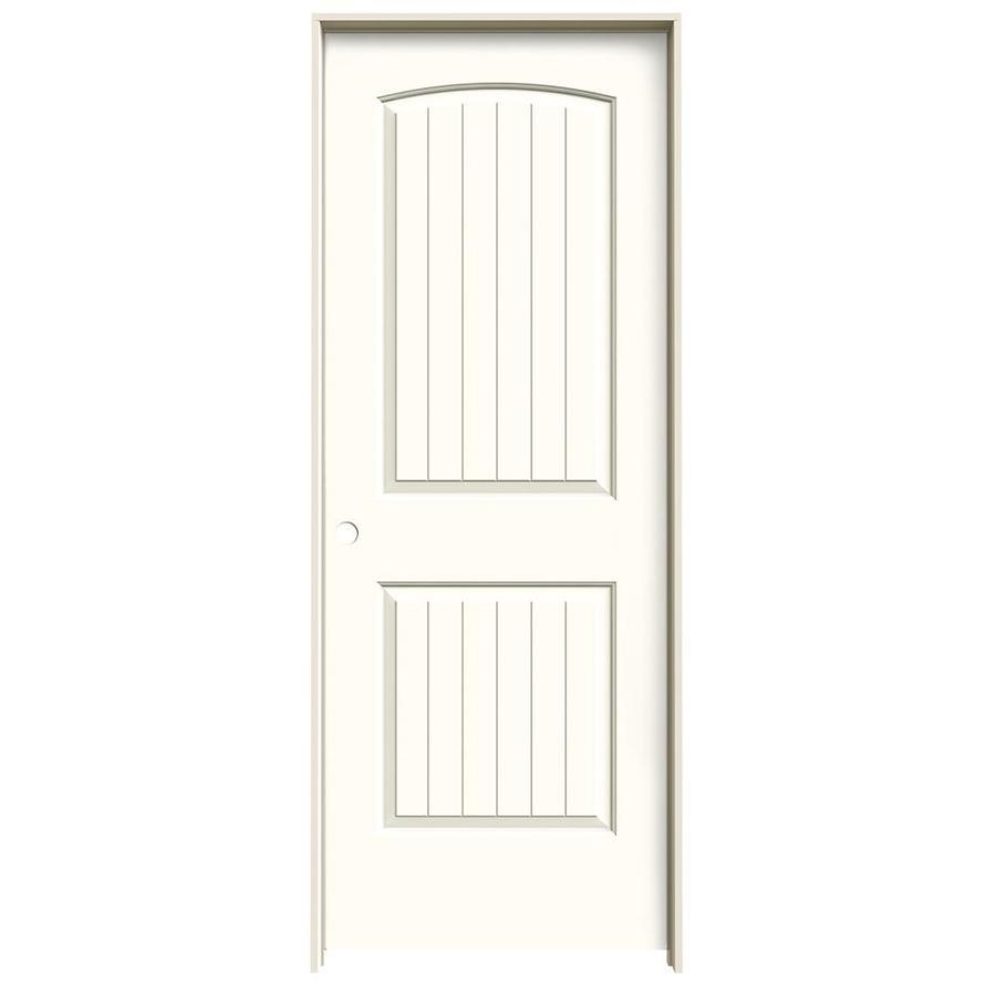 JELD-WEN Moonglow Prehung Solid Core 2-Panel Round Top Plank Interior Door (Common: 28-in x 80-in; Actual: 29.562-in x 81.688-in)