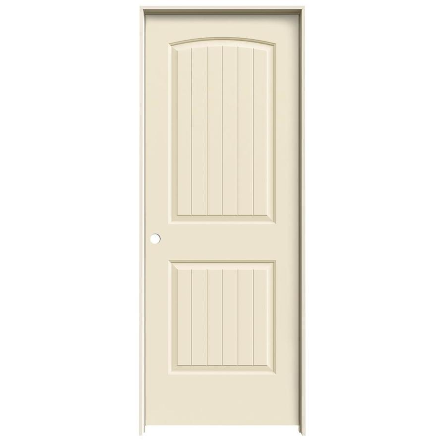 JELD-WEN Cream-N-Sugar Prehung Solid Core 2-Panel Round Top Plank Interior Door (Common: 28-in x 80-in; Actual: 29.562-in x 81.688-in)