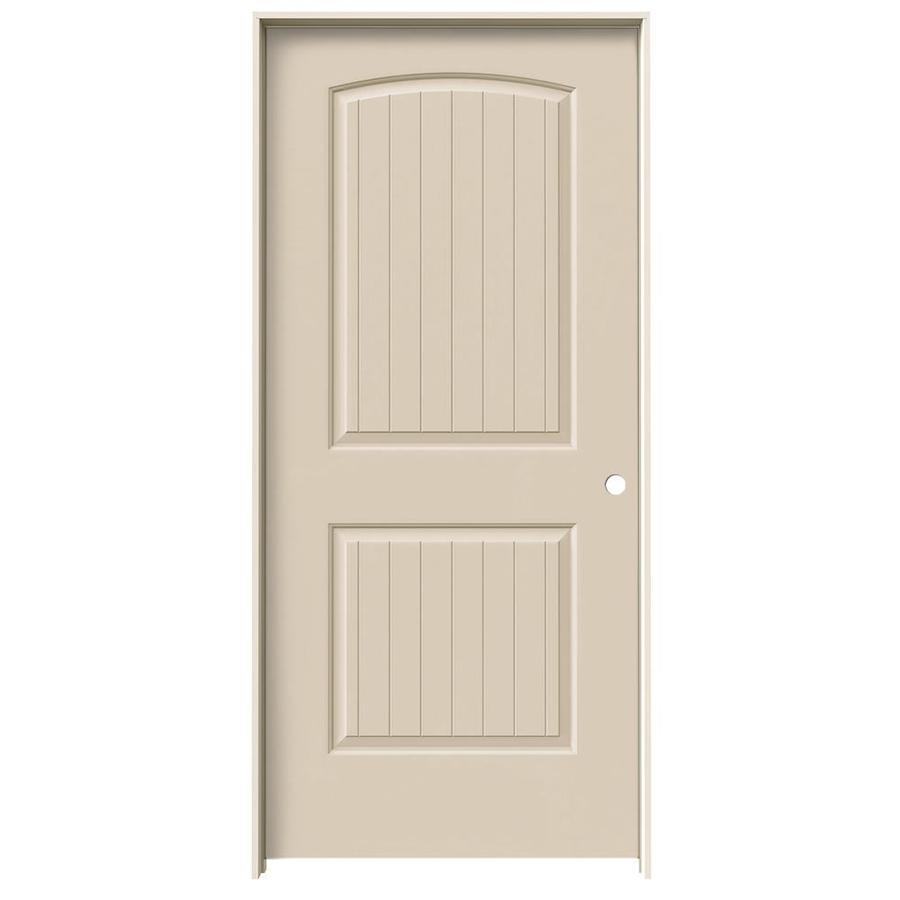JELD-WEN Cream-N-Sugar Prehung Solid Core 2-Panel Round Top Plank Interior Door (Common: 36-in x 80-in; Actual: 37.562-in x 81.688-in)