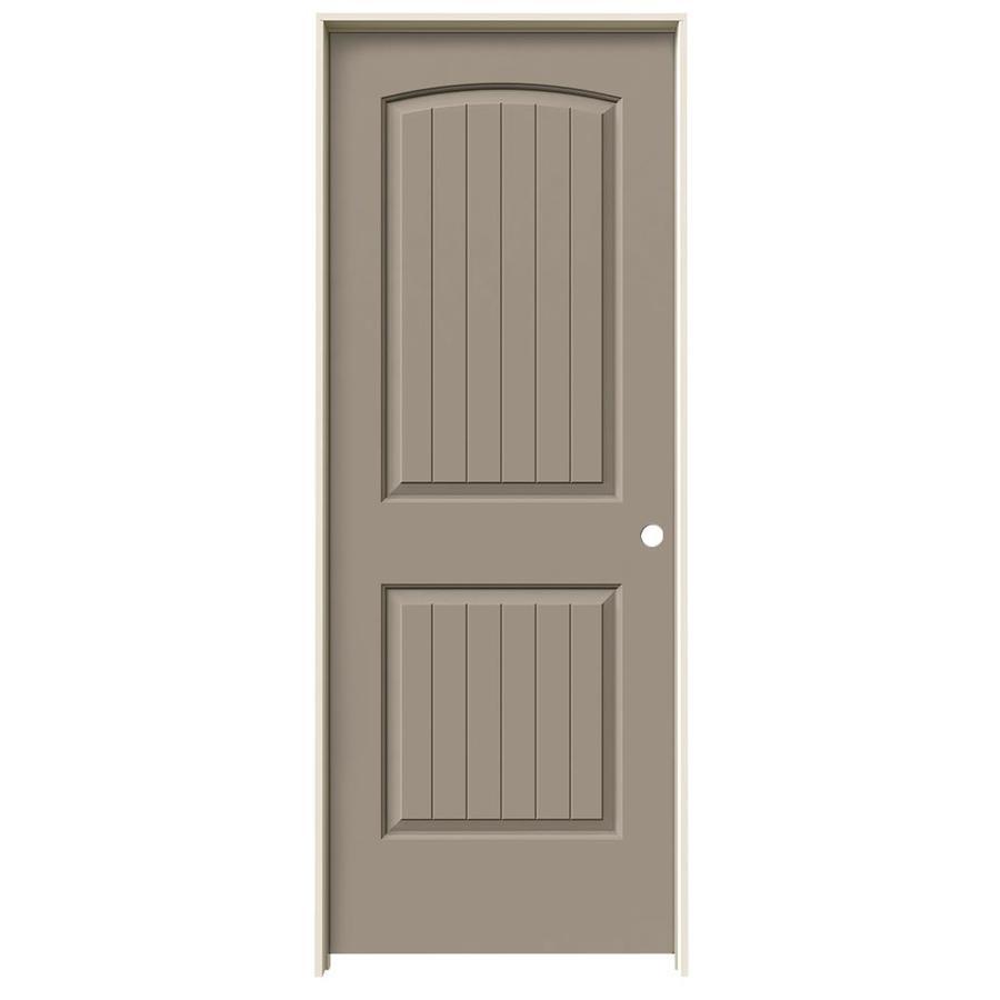 JELD-WEN Sand Piper Prehung Solid Core 2-Panel Round Top Plank Interior Door (Common: 24-in x 80-in; Actual: 25.562-in x 81.688-in)
