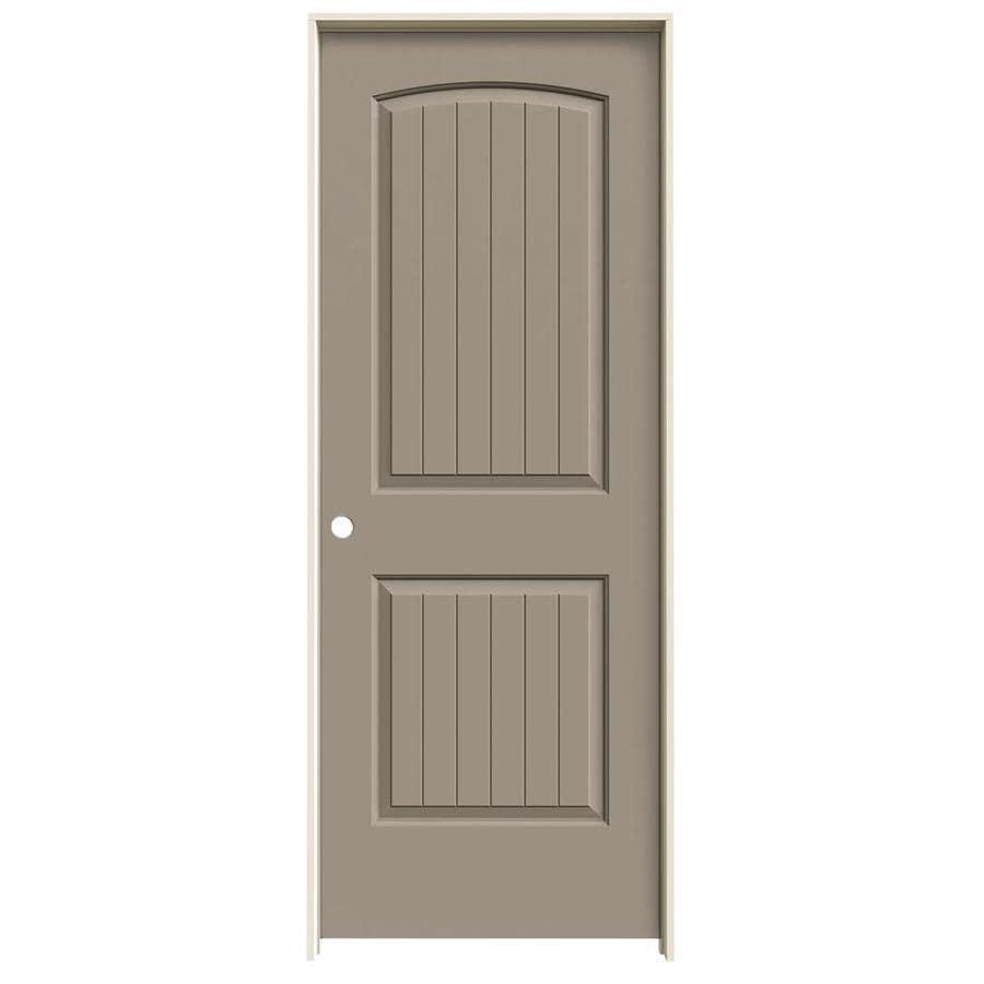 JELD-WEN Sand Piper Prehung Solid Core 2-Panel Round Top Plank Interior Door (Common: 30-in x 80-in; Actual: 31.562-in x 81.688-in)
