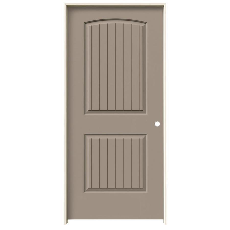 JELD-WEN Sand Piper Prehung Solid Core 2-Panel Round Top Plank Interior Door (Common: 36-in x 80-in; Actual: 37.562-in x 81.688-in)