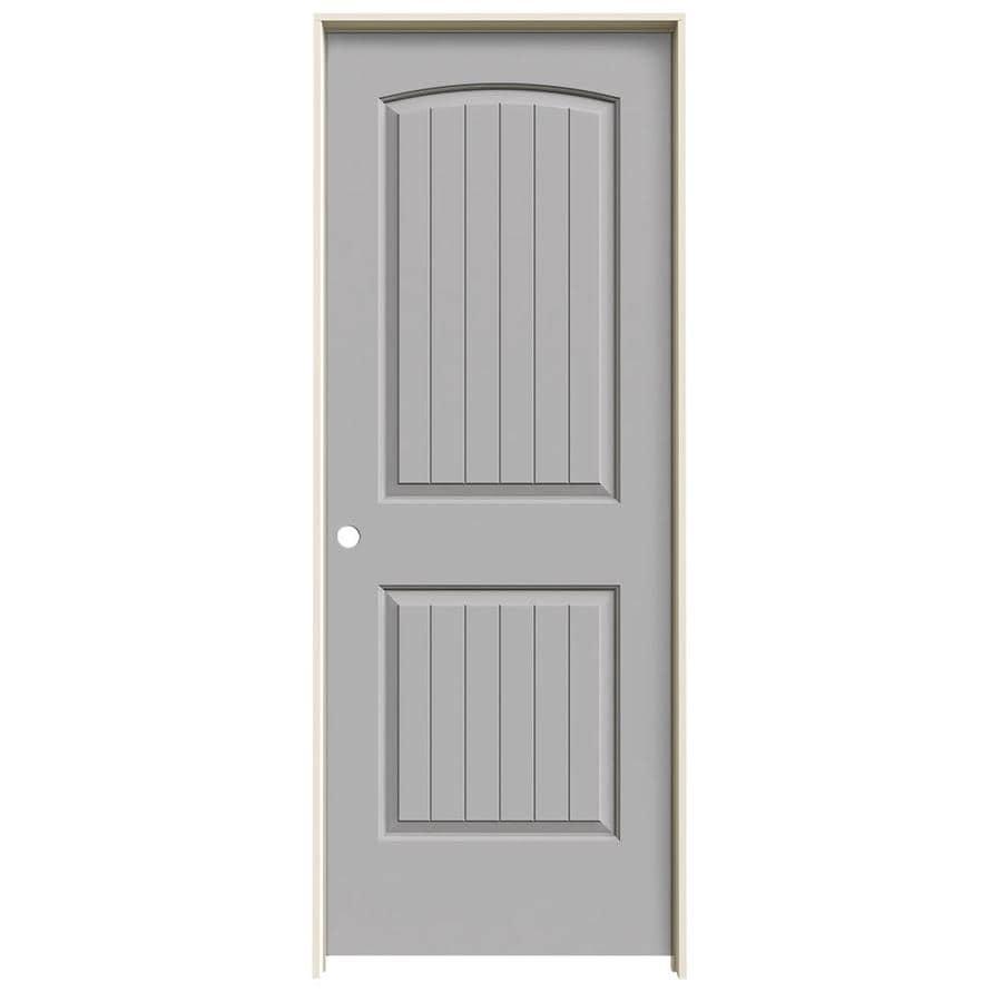 JELD-WEN Driftwood Prehung Solid Core 2-Panel Round Top Plank Interior Door (Common: 30-in x 80-in; Actual: 31.562-in x 81.688-in)