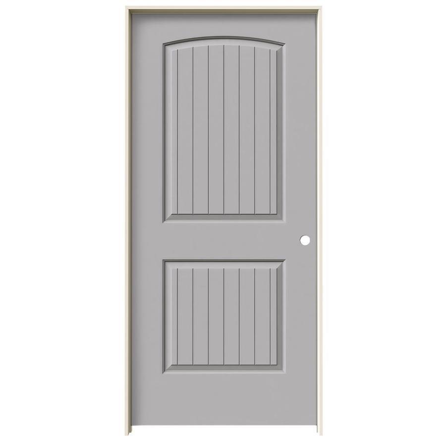 JELD-WEN Driftwood Prehung Solid Core 2-Panel Round Top Plank Interior Door (Common: 36-in x 80-in; Actual: 37.562-in x 81.688-in)