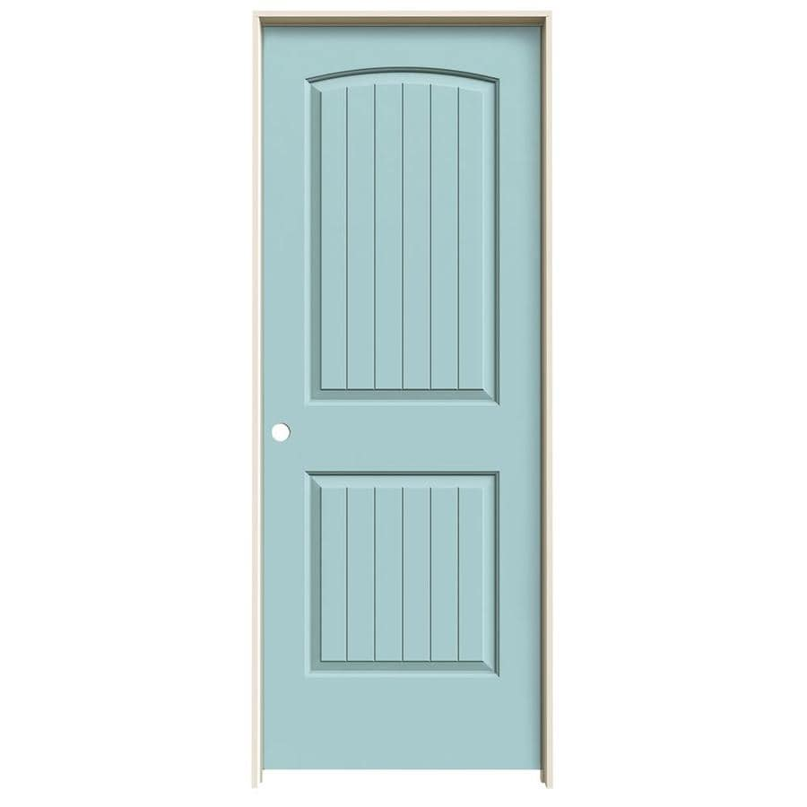 JELD-WEN Sea Mist Prehung Solid Core 2-Panel Round Top Plank Interior Door (Common: 24-in x 80-in; Actual: 25.562-in x 81.688-in)