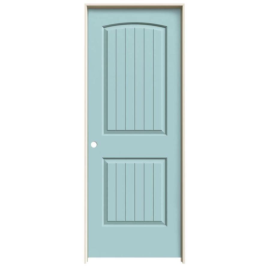 JELD-WEN Sea Mist Prehung Solid Core 2-Panel Round Top Plank Interior Door (Common: 30-in x 80-in; Actual: 31.562-in x 81.688-in)