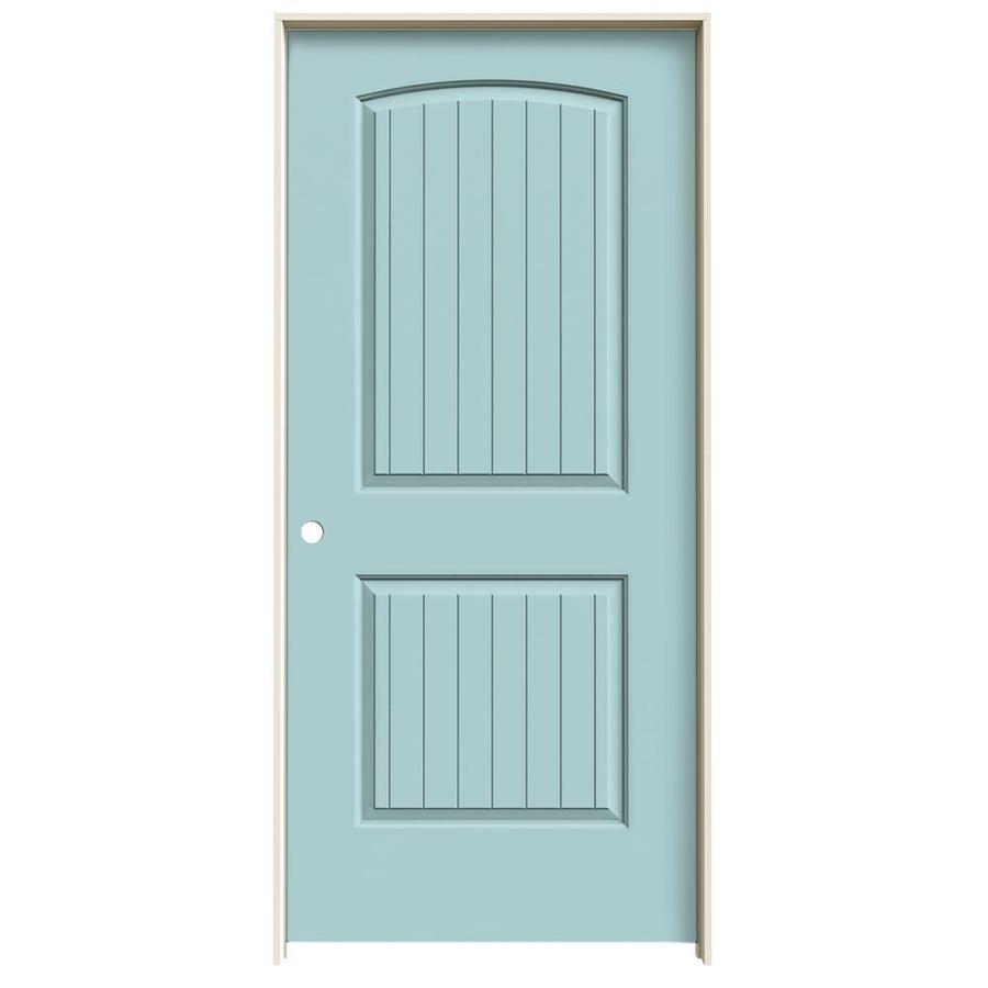 JELD-WEN Sea Mist Prehung Solid Core 2-Panel Round Top Plank Interior Door (Common: 36-in x 80-in; Actual: 37.562-in x 81.688-in)