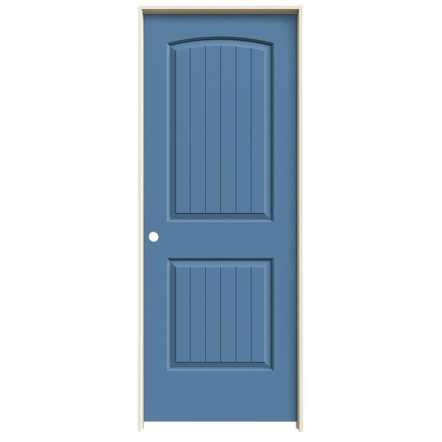 JELD-WEN Blue Heron Prehung Solid Core 2-Panel Round Top Plank Interior Door (Common: 28-in x 80-in; Actual: 29.562-in x 81.688-in)